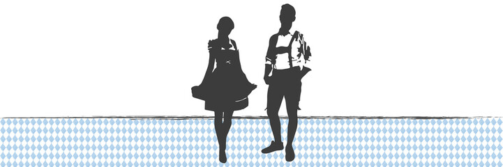 Banner Oktoberfest   Silhouette   Dirndl & Lederhose