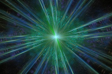 Green rays. fractal graphics - abstract background.