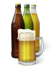 Mug with beer. Green bottle of beer. Brown bottle of beer. Transparent bottle of beer. Vector