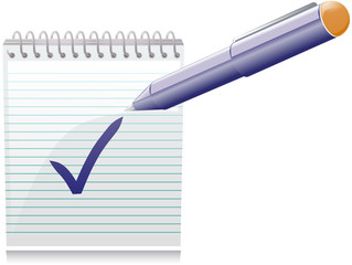 Note with check and pen vector image