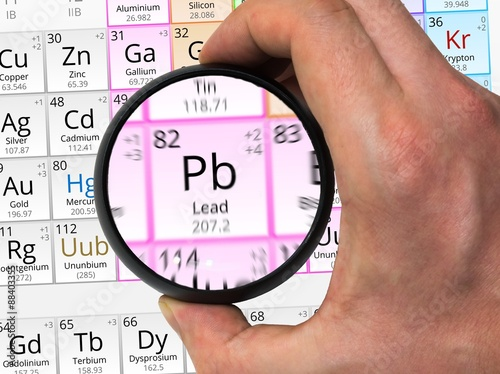 Lead Symbol Pb Element Of The Periodic Table Zoomed With Magn