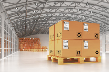 Distribution warehouse, package shipment, freight transportation and delivery concept, cardboard boxes on pallet in the retail store building