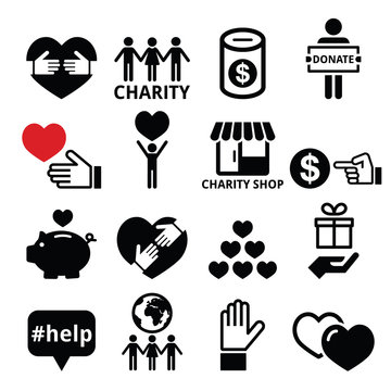 Charity, helping other people icons