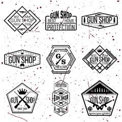 Gun shop logotypes and badges vector set