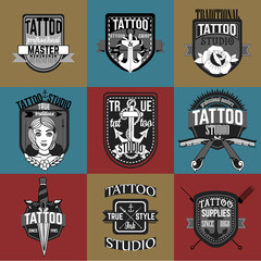 Tattoo logos and badges vector set
