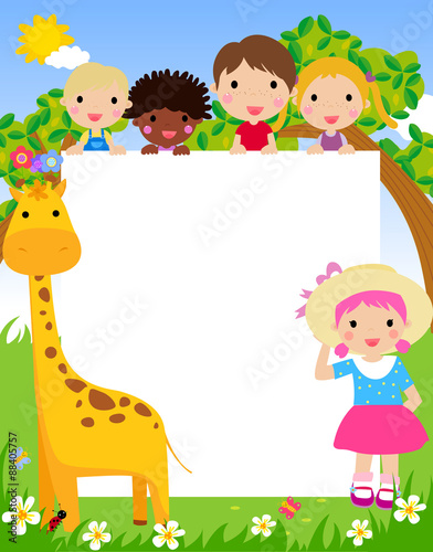 Color frame with group of kids and giraffe,background.\