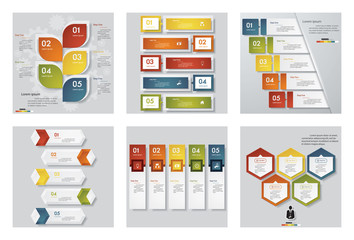 Collection of 6 design template/graphic or website layout. Vector Background.
