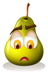 Pear with sad face