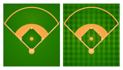 Baseball field in two lawn designs