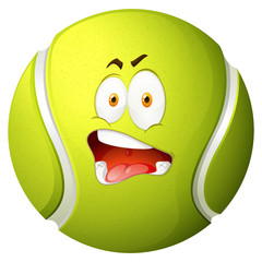Tennis ball with silly face