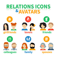 Bright icons and avatars