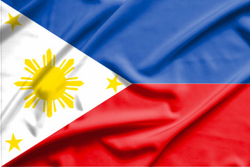 philippines flag on soft and smooth silk texture
