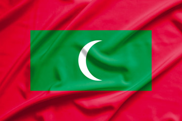 maldives flag on soft and smooth silk texture