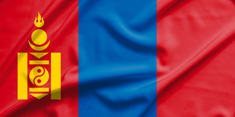 mongolia flag on soft and smooth silk texture