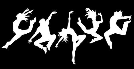 ダンサー5人横並べ(人物抜き背景黒)