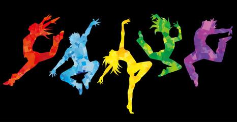 ダンサー5人横並べ(カラフルカラー背景黒)