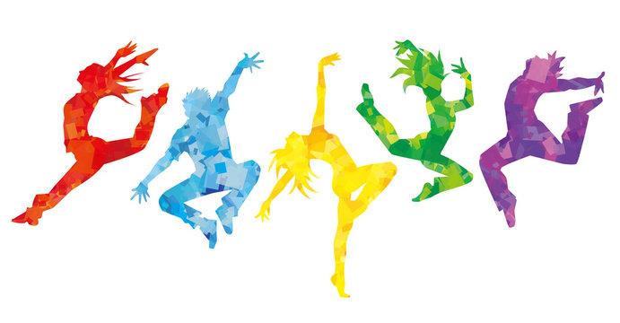 ダンサー5人横並べ(カラフルカラー)