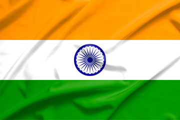 india flag on soft and smooth silk texture