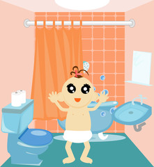 Illustration of a baby standing in a bathroom.