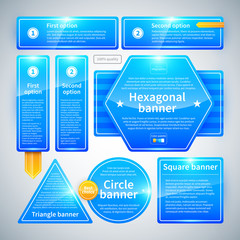 A set of banners of different shapes. Useful for web design.