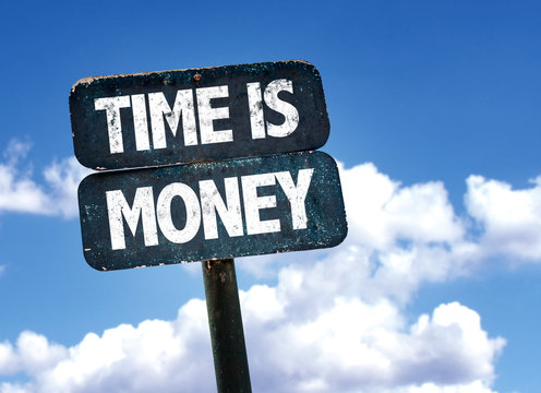 Time is Money sign with clouds on background