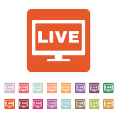 The live tv icon. Broadcasting and broadcast symbol. Flat
