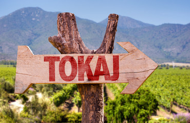 Tokai wooden sign with winery background