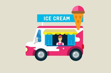 Ice cream car icon. Cold milk product, vanilla symbol, auto