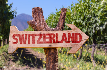 Switzerland wooden sign with winery background
