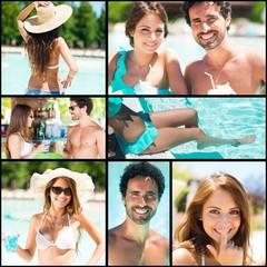 Couple having fun at the pool