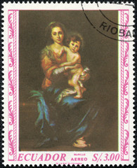 stamp printed in the ECUADOR, shows Madonna painted by Albrecht Durer