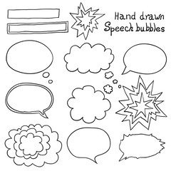 Vector hand drawn speech bubbles set.