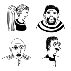 funny comic portraits of different people vector illustration