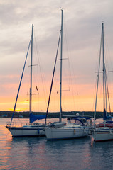 Sunset with Sailboats Vertical