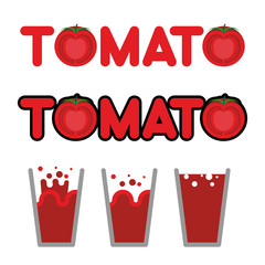 Tomato juice. Set of cups and mugs with tomato juice. Letters an