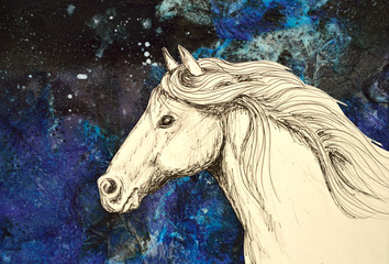 Original mixed media collage of a horse drawn in pencil and ink.