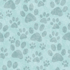 Blue Dog Paw Prints Tile Pattern Repeat Background