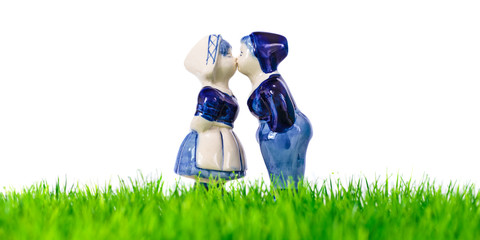 Dutch souvenir boy and girl kissing
