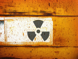 rusted metal with radiation symbol