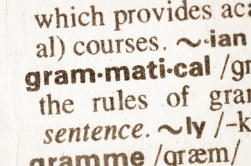 Dictionary definition of word grammatical