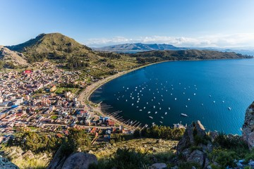 lake titicaca at the border of bolivia and peru
