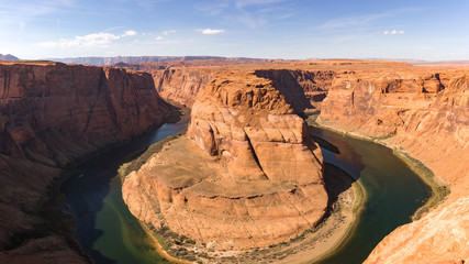 Horseshoe bend on a sunny day, Page, Arizona, USA. Panoramic image.