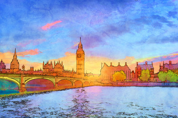 Wall Mural - Cartoon style illustration of Big Ben and Westminster Bridge, London, the UK