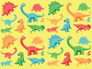 Dinosaurs Wallpaper Vector Illustration 1