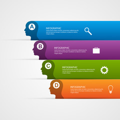 Vector abstract business infographic template for silhouette head.