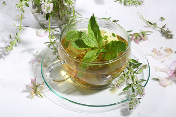 Tea from gathering of medicative herbs and mint in a transparen