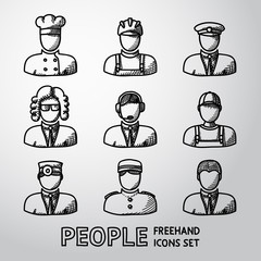 Set of hand drawn people faces - different professions. Vector