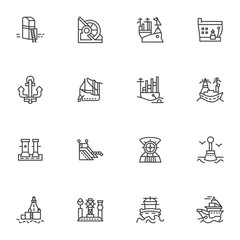 Simple line icons for ships and sea ports