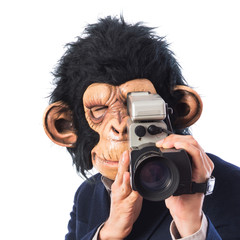 Monkey man with video camera