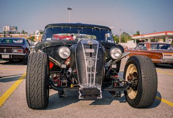 beautiful amazing stunning closeup front view of classic retro vintage street rod car